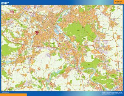 Mapa Evry en Francia enmarcado plastificado