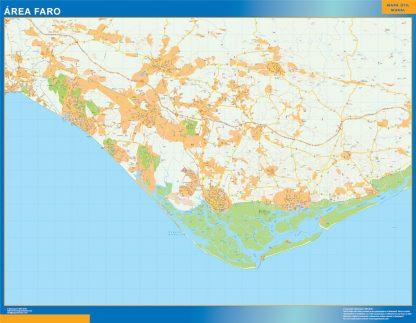 Mapa Faro área urbana enmarcado plastificado