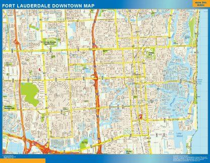 Mapa Fort Lauderdale downtown enmarcado plastificado