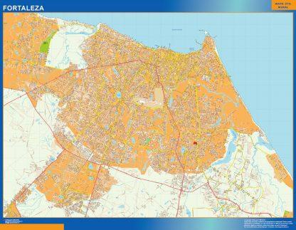 Mapa Fortaleza Brasil enmarcado plastificado