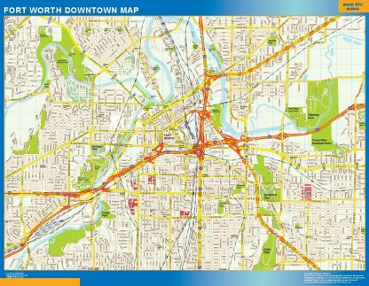 Mapa Forth Worth downtown enmarcado plastificado