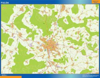 Mapa Fulda en Alemania enmarcado plastificado