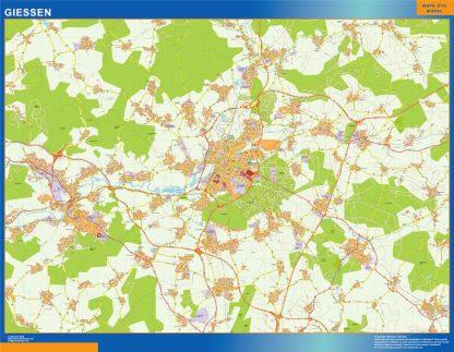 Mapa Giessen en Alemania enmarcado plastificado