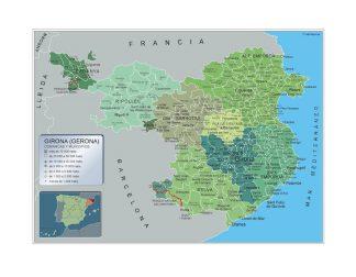 Mapa Girona por municipios enmarcado plastificado