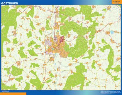 Mapa Gottingen en Alemania enmarcado plastificado