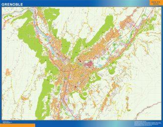 Mapa Grenoble en Francia enmarcado plastificado
