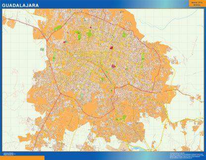 Mapa Guadalajara en Mexico enmarcado plastificado