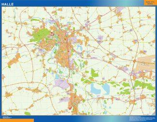 Mapa Halle en Alemania enmarcado plastificado