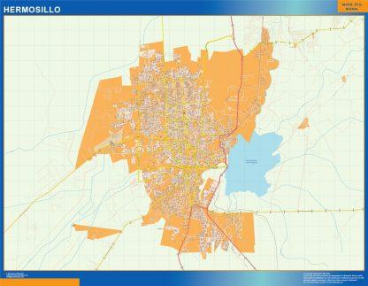 Mapa Hermosillo en Mexico enmarcado plastificado