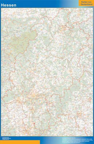 Mapa Hessen enmarcado plastificado