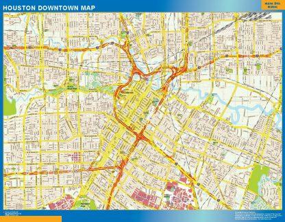 Mapa Houston downtown enmarcado plastificado