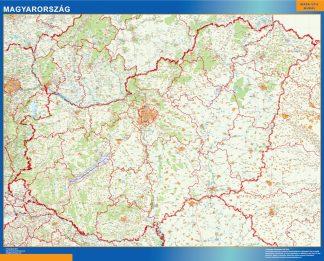 Mapa Hungria enmarcado plastificado