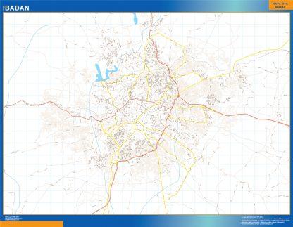 Mapa Ibadan en Nigeria enmarcado plastificado