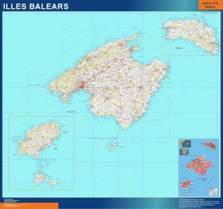 Mapa Islas Baleares topográfico enmarcado plastificado