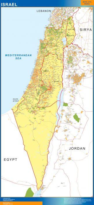 Mapa Israel enmarcado plastificado
