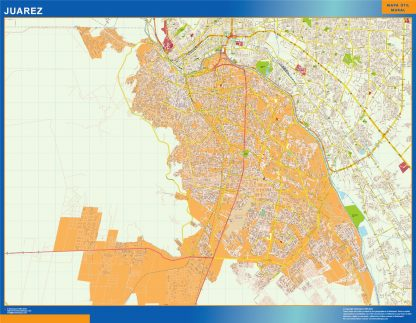 Mapa Juarez en Mexico enmarcado plastificado