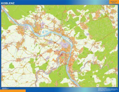 Mapa Koblenz en Alemania enmarcado plastificado