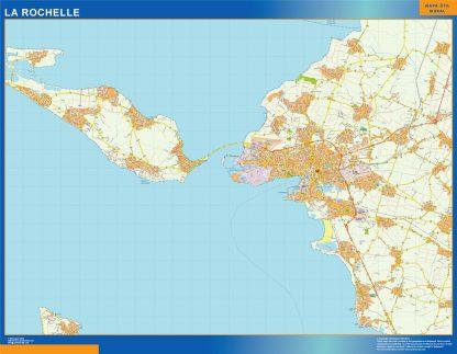 Mapa La Rochelle en Francia enmarcado plastificado