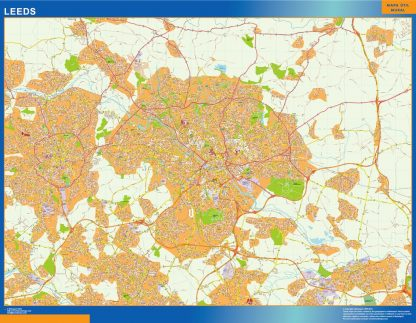Mapa Leeds enmarcado plastificado