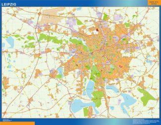 Mapa Leipzig en Alemania enmarcado plastificado