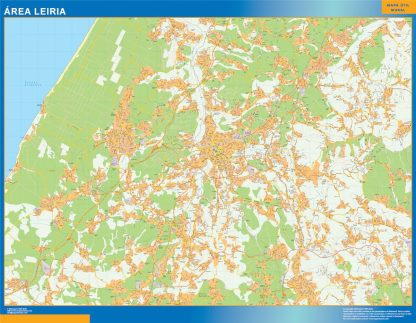 Mapa Leiria área urbana enmarcado plastificado