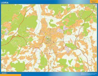 Mapa Leiria en Portugal enmarcado plastificado