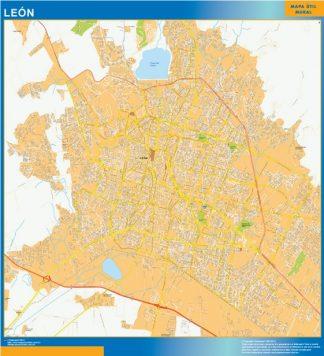 Mapa Leon Centro en Mexico enmarcado plastificado