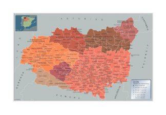 Mapa Leon por municipios enmarcado plastificado
