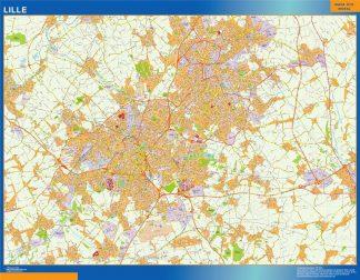 Mapa Lille en Francia enmarcado plastificado