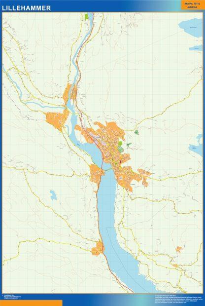 Mapa Lillehammer en Noruega enmarcado plastificado