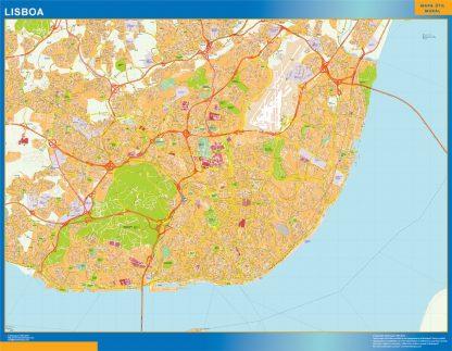 Mapa Lisboa en Portugal enmarcado plastificado