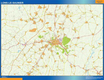 Mapa Lons Le Saunier en Francia enmarcado plastificado
