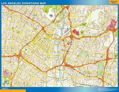 Mapa Los Angeles downtown enmarcado plastificado