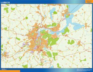 Mapa Lubeck en Alemania enmarcado plastificado