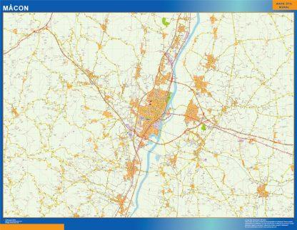 Mapa Macon en Francia enmarcado plastificado