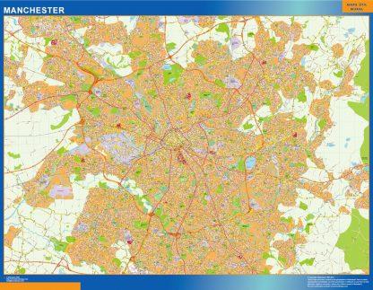 Mapa Manchester enmarcado plastificado