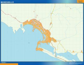 Mapa Manzanillo en Mexico enmarcado plastificado