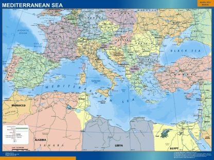 Mapa Mar Mediterraneo enmarcado plastificado