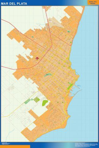 Mapa Mar del Plata en Argentina enmarcado plastificado