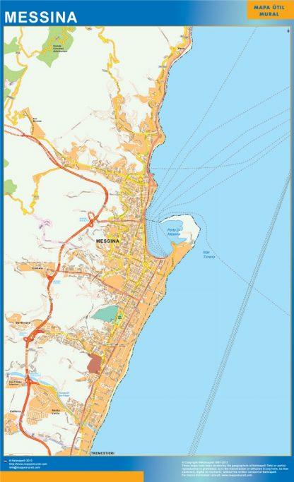 Mapa Messina enmarcado plastificado