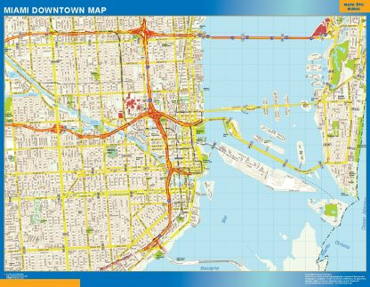 Mapa Miami downtown enmarcado plastificado