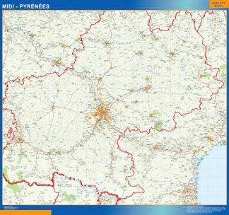 Mapa Midi Pyrenees en Francia enmarcado plastificado