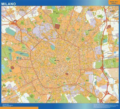 Mapa Milano enmarcado plastificado