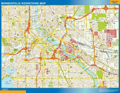 Mapa Minneapolis downtown enmarcado plastificado