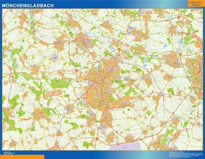 Mapa Monchengladbach en Alemania enmarcado plastificado