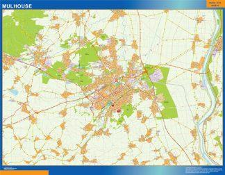 Mapa Mulhouse en Francia enmarcado plastificado