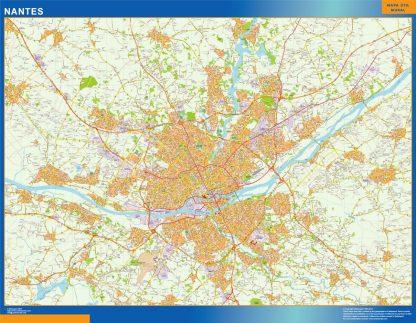 Mapa Nantes en Francia enmarcado plastificado