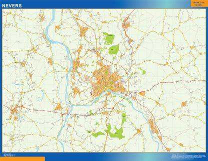 Mapa Nevers en Francia enmarcado plastificado