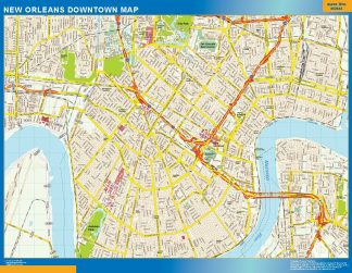 Mapa New Orleans downtown enmarcado plastificado