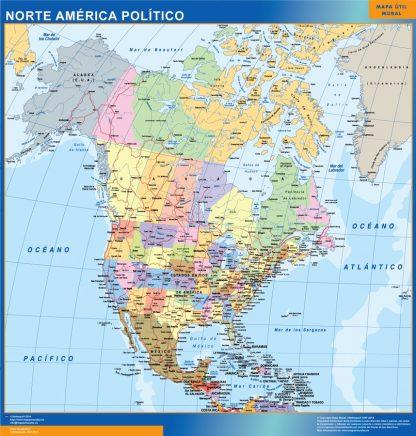 Mapa Norte America enmarcado plastificado